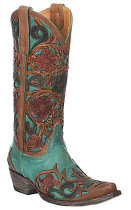 Old Gringo Women's Abelina Turquoise and Brown Hand Tooled Floral Western Snip Toe Boots