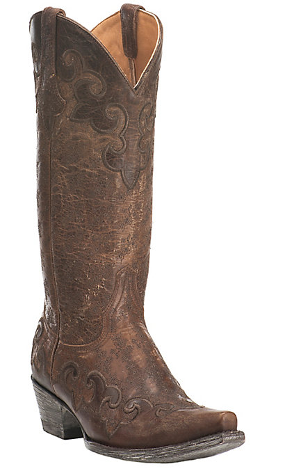 e3a07bfa39a Old Gringo Women's Lynette Brown with Chocolate Wingtip Embroidery Western  Snip Toe Boots