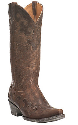 Old Gringo Women's Lynette Brown with Chocolate Embroidery Snip Toe Western Boots