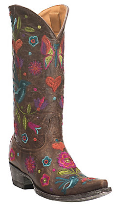 Old Gringo Women's Chocolate with Bright Floral Embroidery Western Snip Toe Boots