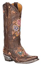 XAN Old Gringo Women's Pansy w/ Multi-Color Floral Embroidery Western Snip Toe Boots