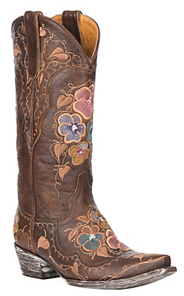 Old Gringo Women's Pansy with Multi-Color Floral Embroidery Western Snip Toe Boots