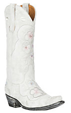 XAN Old Gringo Women's Pansy White Crackled Leather w/ Silver & Pink Embroidery Western Snip Toe Boots
