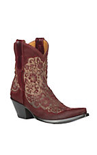 XAN Old Gringo Women's Misgissi Red Hair on Lasered Floral Design Western Snip Toe Boots