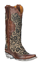 XAN Old Gringo Women's Misgissi Blocked Brass Overlay w/ Lasered Black Hair Floral Design Snip Toe Boots