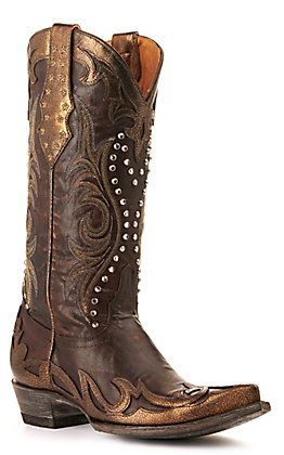 Old Gringo Women's Vencida Crystal Chocolate and Copper Snip Toe Western Boots