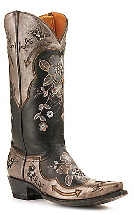 Old Gringo Women's Bonnie Pipin Glam Black and Gold with Floral Embroidery Snip Toe Western Boot