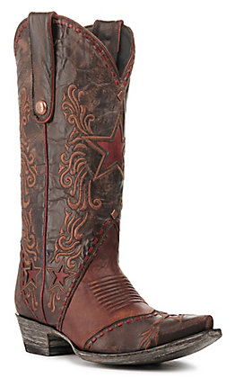 Old Gringo Women's Amelie Brass and Chocolate Brown with Red Star Inlay Snip Toe Western Boots