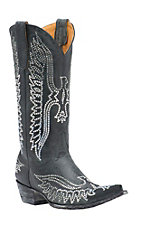 Old Gringo Women's Vintage Black w/ Swarovski Crystal Eagle Pointed Snip Toe Western Boots