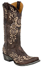 Old Gringo Ladies Chocolate w/ Natural Embroidered  Lucky Horseshoe Snip Toe Boot