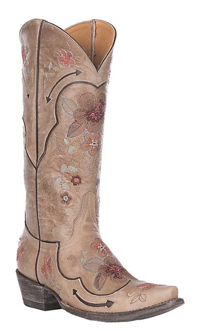 f75966e56e1 Old Gringo Women's Bonnie Pipin Bone with Multi-Colored Floral Embroidered  Snip Toe
