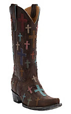 Old Gringo Women's Ooh My God Distressed Brass with Crosses Snip Toe Western Boots