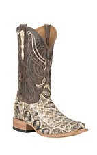 Old Gringo Men's Natural Snake Skin with Brown Goat Upper Exotic Square Toe Boots