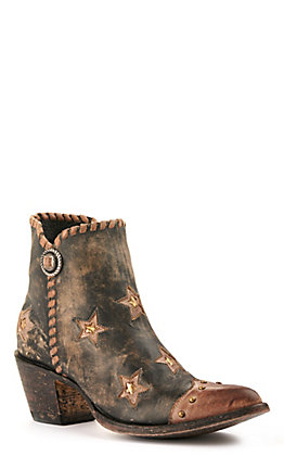 Yippee Ki Yay by Old Gringo Women's Black with Brown and Gold Stars R-Toe Bootie