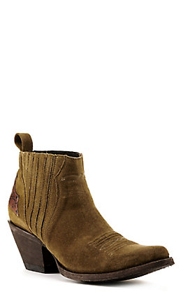 Yippee Ki Yay by Old Gringo Women's Layra Olive Green Suede R-Toe Bootie