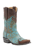 Old Gringo Yippee Ki Yay Women's Mud Aqua with Vintage Brass Studded Snip Toe Western Boots
