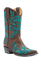 Old Gringo Yippee Ki Yay Women's Vintage Brass with Turquoise Embroidery Snip Toe Western Boots