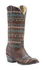 Old Gringo Yippee Ki Yay Women's Rust with Embroidery & Studs Round Toe Western Boots
