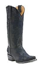 Old Gringo Yippee Ki Yay Women's Vitro Black with Blue Rose Embroidery Snip Toe Western Boots