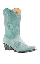 Old Gringo Yippee Ki Yay Women's Vintage Aqua with Embroidery & Studs Snip Toe Western Boots
