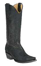 Old Gringo Yippee Ki Yay Women's Black Azlea with Blue Floral Embroidery Snip Toe Western Boots