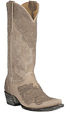 Old Gringo Yippee Ki Yay Women's Bone Azlea with Grey Floral Embroidery Snip Toe Western Boots