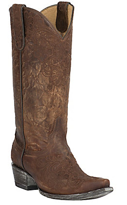 Old Gringo Yippee Ki Yay Women's Brass Azlea with Floral Embroidery Snip Toe Western Boots