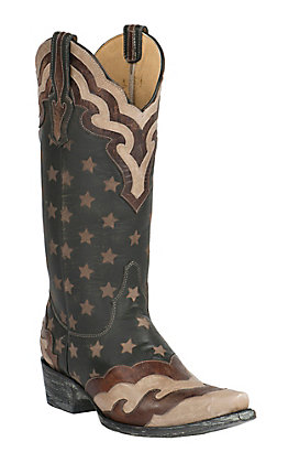 Old Gringo Yippee Ki Yay Women's Gabaucho Red, White and Blue with Stars Inlay Snip Toe Western Boots