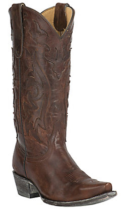 Old Gringo Yippee Ki Yay Women's Asparagus Vintge Brown with Overlay Snip Toe Western Boots