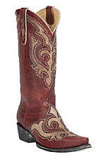 Old Gringo Yippee Ki Yay Women's Kailani Red with Cream Inlay & Studs Snip Toe Western Boots