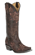 Old Gringo Yippee Ki Yay Women's Abrill Chocolate with Pink & Brown Floral Embroidery Snip Toe Western Boots