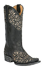 Old Gringo Yippee Ki Yay Women's Freesia Black with Silver Floral Laser Inlay Snip Toe Western Boots