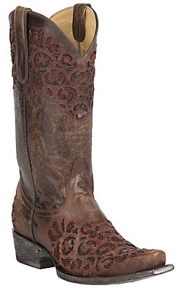 Old Gringo Yippee Ki Yay Women's Fresota Brass with Red Inlay & Embroidery Snip Toe Western Boots