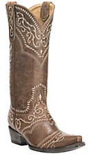 Old Gringo Yippee Ki Yay Women's Brown with Cream Embroidery Western Snip Toe Boots