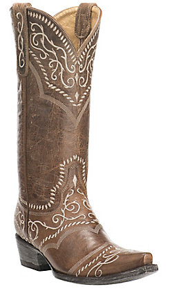 Old Gringo Yippee Ki Yay Women's Brown with Cream Embroidery Snip Toe Western Boots