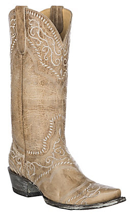 Old Gringo Yippee Ki Yay Women's Bone with Embroidery Snip Toe Western Boots