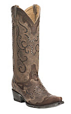 Old Gringo Yippee Ki Yay Women's Antique Brown with Studded Inlays Western Snip Toe Boots