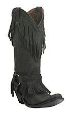 Old Gringo Yippee Ki Yay Women's Black with Top Fringe and Silver Accents Western Snip Toe Boots