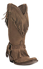 Old Gringo Yippee Ki Yay Women's Tan with Top Fringe and Gold Accents Western Snip Toe Boots