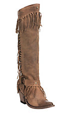 Old Gringo by Yippee Ki Yay Women's Brown with Fringe and Gold Accents Fashion Snip Boots
