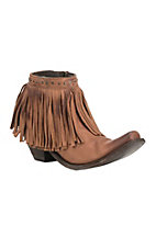 Yippee Ki Yay by Old Gringo Women's Cognac with Fringe Snip Toe Bootie