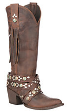 XAN Old Gringo Women's Caryl Brass Leather with Patina Studded Harness Western Snip Toe Boots