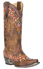 Yippee Ki Yay by Old Gringo Alamada Brass w/ Multi-Color Embroidery & Brass Studs Western Snip Toe Boots
