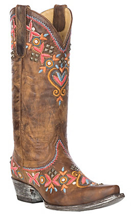 Yippee Ki Yay by Old Gringo Alamada Brass with Multi-Color Embroidery & Brass Studs Western Snip Toe Boots