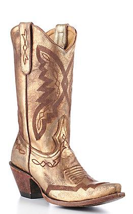 Old Gringo Yippee Ki Yay Women's Gold Metallic Snip Toe Western Boots
