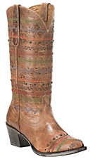Yippee Ki Yay by Old Gringo Women's Antique Tan with Multi Colored Stripes Western Round Toe Boots