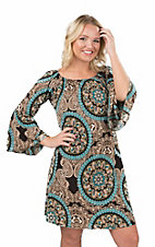 James C Women's Teal, Brown, and Gold Multi Print 3/4 Bell Sleeve Dress