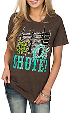 Crazy Train Women's Brown Oh Chute Short Sleeve T-Shirt
