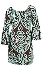 James C Women's Mint & Chocolate Print 3/4 Bell Sleeve Dress - Plus Sizes