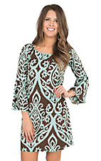 James C Women's Mint & Chocolate Print 3/4 Bell Sleeve Dress
